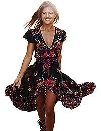 Vestido Mujer Largo de Gasa Estampado con Mangas Cortas Floral Imprimir Bohemio Boho Retro V-cuello Profundo de Vacaciones de Verano para Fiesta