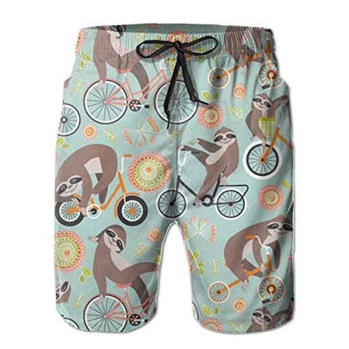 IconSymbol Sloths On Bikes Men's Swimming Trousers Quick-Drying Beach Board Shorts with Mesh Lining -