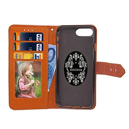 EKINHUI Case Cover Für Apple IPhone 7 Plus Fallabdeckung Europäische Wandgemälde Stil geprägt Pressing Blumenmuster PU Leder Geldbörse Fall mit Halter & Foto Frame & Card Slots ( Color : Purple ) Khaki