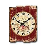 Wall Clock MEHE@ Kreative Mode Persönlichkeit Kunst Mute Wanduhr Rechteckige Hölzerne Jane Europäischen Stil Wohnzimmer Dekoration (12 Zoll) (Farbe : F)