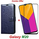 Goelectro Samsung Galaxy M20 / Galaxy M20 (Combo Offer) Leather Dairy Flip Case Stand with Magnetic Closure & Card Holder Cover + 2.5D Curved Tempered Glass Screen Protector (Blue Flip)