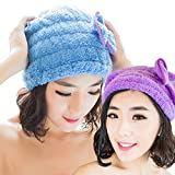2 Pack-dry hair CAP absorbent dry hair Cap Purple sky blue one