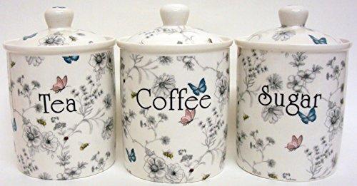 Secret Garden à thé/café/sucre en porcelaine anglaise Fleurs Papillons et abeilles bocaux décorée à la main au Royaume-Uni.