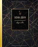 Agenda 2018-2019: Agenda Scolaire, Août 2018 à Juillet 2019, Semainier simple & graphique, motif géométrique noir et or