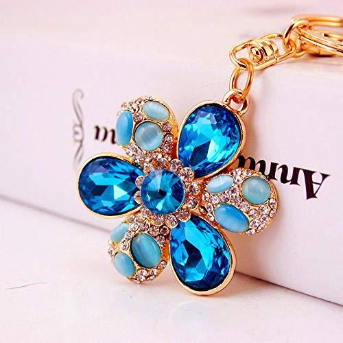 Ou lida Kreative Diamantschmuck Voller Diamant Opal Sechs-Blütenblatt Auto Schlüsselbund Explosion Schlüsselbund2