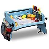 Loori Kinder Reisetisch Knietablett Blau Auto Tisch für Kind mit Zeichnungsfilm, Bonus 5 Zeichnungsplatten & 6 Farbpens, Cool Maltisch Auto Kinder Spielzeug für Die Reise