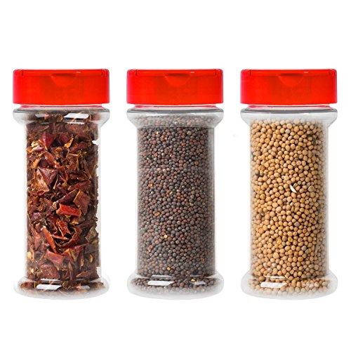 12Stück Klar Kunststoff Gewürzgläser Container bottle-7oz-Klappe Gap Gießen oder Shaker/sifter- Pressure Sensitive Liner zu speichern Spice, herbs-bpa gratis red caps -