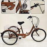 YiWon Triciclo per Adulti, 24 Pollici 6 Ingranaggi 3 Ruote Biciclette Senior Triciclo Cargo Biciclette Shopping Triciclo Bici + Cesto + Lampada Oro