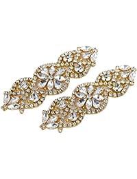 (2 piezas) Rhinestone Applique con Cristales y Perlas para el Vestido Headpieces Bolsas Cinturon para Vestido Novia, Cinturones Boda