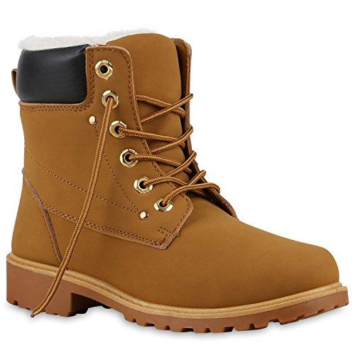 Unisex Damen Herren Warm Gefütterte Damen Worker Boots Stiefeletten Outdoor Schuhe 126178 Hellbraun Dunkelbraun 37 Flandell