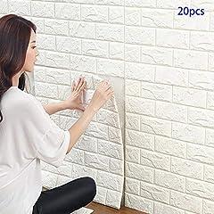 Idea Regalo - Carta da Parati Mattoni Bianco 3d, YTAT 3D Brick Wallpaper Stickers, Carta da Parati Adesiva, Stickers Muro 3d, Carta da Parati per Cucina, Bagno, Soggiorno, Salone, Ufficio, TV Sfondo (20, bianco)