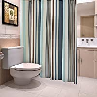 jinsan Shun neumo disch 180x 180cm Poliéster Rayas cortina de ducha impermeable antimoho para cuidado fácil Schöne ducha cortinas impermeable cortina de ducha bañera cortina con 12ganchos