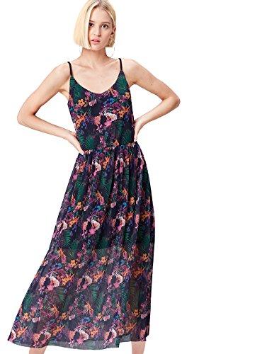 FIND Kleid Damen Slipdress mit Plissee-Falten und Tropenprint Mehrfarbig (Multicoloured), 40 (Herstellergröße: Large)