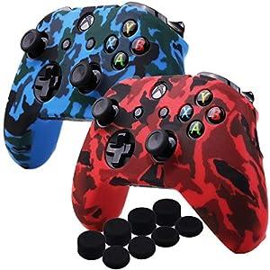 YoRHa Wassertransferdruck Silikon Hülle Abdeckungs Haut Kasten für Microsoft Xbox One X & Xbox One S controller x 2 (rot & blau) Mit PRO aufsätze thumb grips x 8