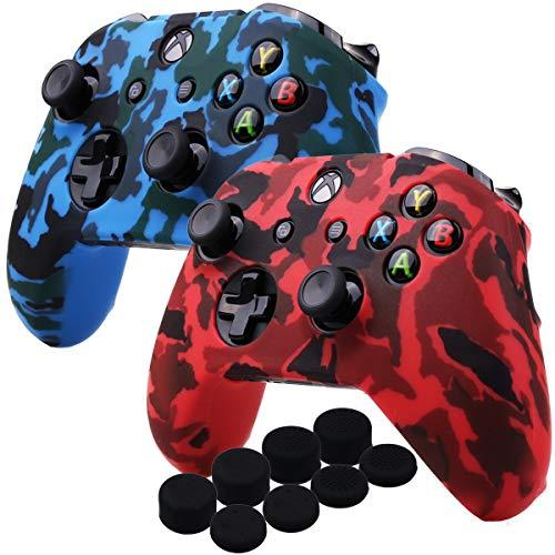 YoRHa Wassertransferdruck Silikon Hülle Abdeckungs Haut Kasten für Microsoft Xbox One X & Xbox One S controller x 2 (rot & blau) Mit PRO aufsätze thumb grips x 8 Silikon Skin Pack