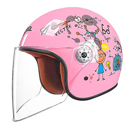 ZXW Elektrische Motorrad Helm Moped Kind Halbe Helm Männer Und Frauen Baby Helm Kinder Vier Jahreszeiten Universale (Farbe : A, größe : L26*H23cm)