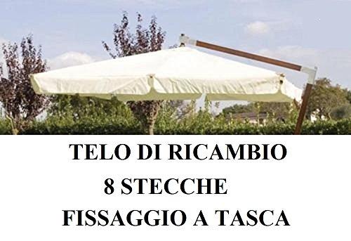 Megashopitalia telo di ricambio per ombrellone decentrato legno 3x4 mt top airvent tipo pesante 380gr/mq impermeabile fissaggio a tasca