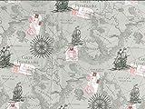 Nostalgie Landkarte Print Baumwolle Popeline Stoff Grau,