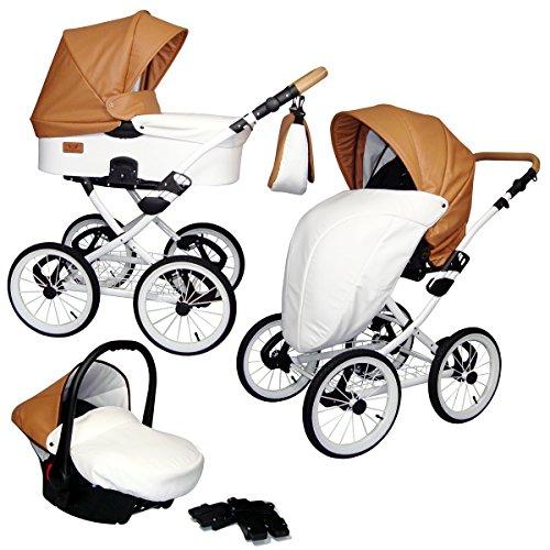 *CLASSICO Deluxe – Ein Luxus Nostalgie Kinderwagen 3 in 1 Retro Komplettset inkl. Babyschale, Babywanne, Sportwagen und Zubehör 07 CAMEL + WHITE*