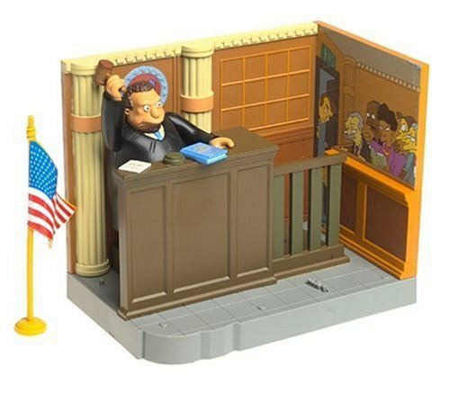 Simpsons World of Springfield Enviornment with Figure: Court Room with Judge Snyder by Playmates Toys Inc. 1