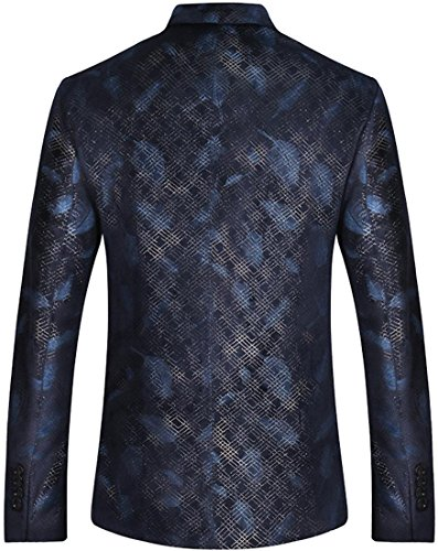 Sportides Uomo Casual Slim Fit Feathers Printed Two Button Blazer Jacket Suits JZA137 Navy