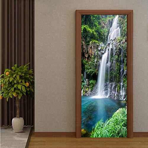 HGGHDFIGJH Tür Aufkleber Chinesischen Stil Wasserfälle Landschaft Fototapete Wohnzimmer Schlafzimmer Wohnkultur PVC Wasserdicht Selbstklebende 95 * 215 cm -