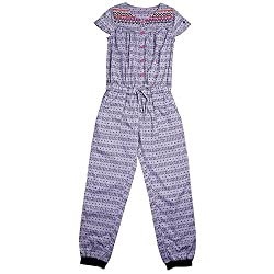 NeedyBee Baby Girls Causal Wear Dress Short Sleeves Grey Abstract Printed with Neck Embroidery Cotton Jumpsuit For Baby Girls for 2-8 Years