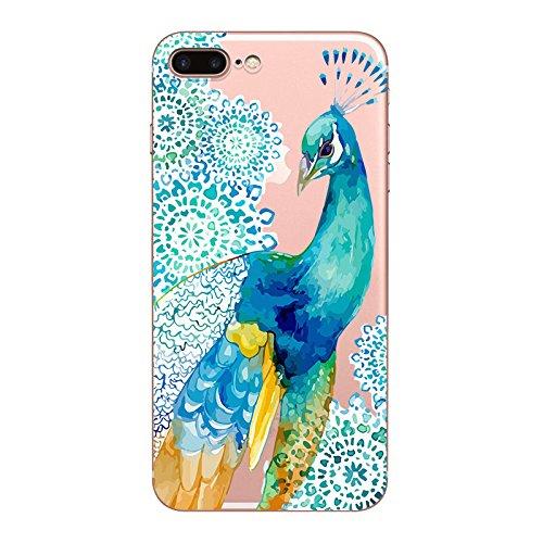 IPhone 7 plus Hülle, Schutzhülle Case Silikon- Clear Ultra Dünn Durchsichtige Backcover TPU Case für iPhone 7plus 6splus Pfau