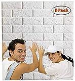 Arthome Papier Peint 3D Brique Adhesif, 77cm x 69cm, Etanche, Épais, Blanc Papier Peint Pierre 3D, Pour la Décoration de la Maison Bricolage (5 Pcs)...