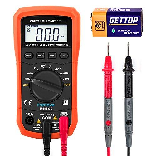 Digital Multimeter, Crenova MS8233D Auto Range AC Spannungsprüfer Tragbare Prüfvorrichtung Messung von Spannung Strom Widerstand Messinstrument mit Hintergrundbeleuchtung