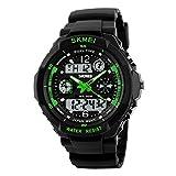 Skmei Sport-Armbanduhr für Outdoor, Bergsteigen oder Wandern, 50 m wasserdicht, digitale LED-Armbanduhr für Herren, grün, Large