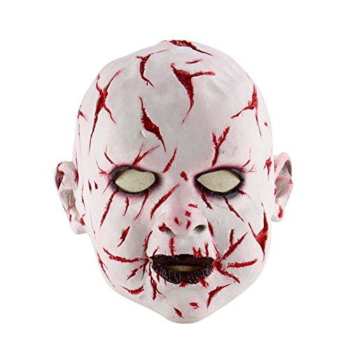 Wongfon Halloween Blutige Puppe Maske Scary Baby Ghost Latex Maske für Erwachsene Maskerade Party Kostüme (Scary Baby Puppe Halloween Kostüm)