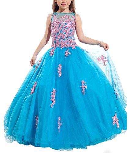PuTao Blumen Mädchen Spitze Hochzeitsfeier Prinzessin Ball Pageant Kleider Blue Pink 12 - Pink Satin Ball