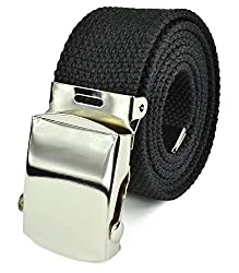 Belle Donne- Unisex Men/Women Heavy Duty Canvas Military Style Belt-Black