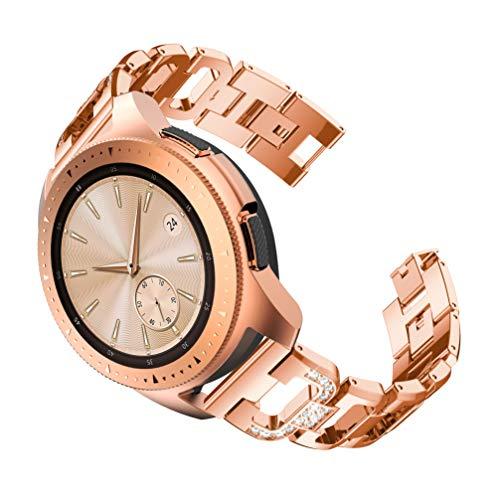 YuStar Armband für Galaxy Watch Active (40 mm), 20 mm, D-Form, Edelstahl, Armband für Samsung Galaxy Watch 42 mm/Garmin VivoActive 3/Ticwatch 2 M Rose Gold (2 Form Gold)