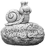 Massive Steinfigur Willkommen Schnecke aus Steinguss frostfest Gartendeko Raumdeko