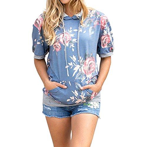 N.Life Nlife Damen Kurzarm Sweatshirt Blumendruck Pullover Hoodie Tops Bluse (Floral Print Blue Top)