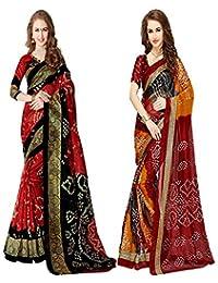 Glory Sarees Women's Bandhani Bhagalpuri Saree Pack Of 2(vnart28&29_red_black)