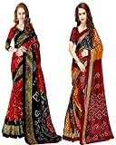 Glory Sarees Art Silk Saree with Blouse Piece (Pack of 2) (vnart28&29_Red and Black_One Size)