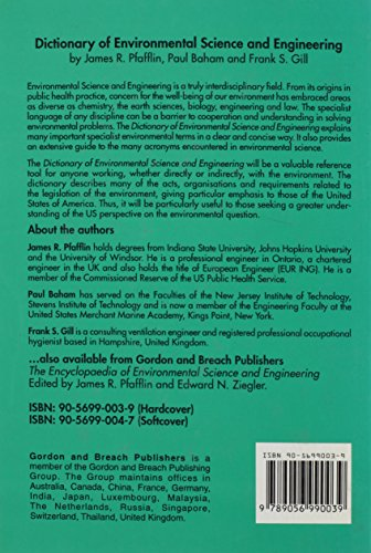 The Dictionary of Environmental Science and Engineering (Routledge Dictionaries)