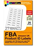 25 sheets A4 FBA Barcode labels. 675 labels. 27 per sheet Self-Adhesive Labels, matt paper, 63.5 x 29.6 mm for use with PDF Barcode files produced by Amazon Fulfillment services print product labels
