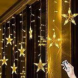 BLOOMWIN Lichtervorhang Stern 3 * 0.65M Warmweiß, 120 LED 220V 8Modi Girland Star Curtain Fairy Light Weihnachtsbeleuchtung Fensterdeko für Innen, Wand, Fenster, Tür [Energieklasse A]