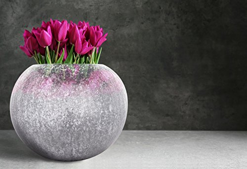 Kayoom WOHNZIMMERDEKO Kugel Vase Rund DEKO Form Dekoration BLUMENVASE Silber