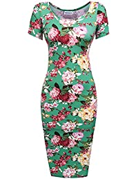 342a1b6850 HOTOUCH Womens Floral Sweetheart Bodycons Midi Dress Short Sleeve Scoop Neck  Pencil Slim Dress