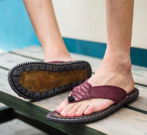 SHIXR Hommes Open Back Pantoufles Printemps Et Été Nouveaux Out Of Tendance Flip Flops confortables en cuir pliable Soft Hommes Sandales Red