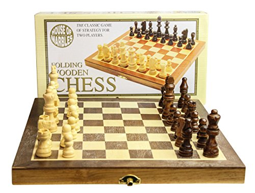 Wooden Fold-Up Chess Set - traditional style, plastic-free.