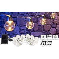 Lunartec Solar-Warmlichterketten: Solar-LED-Lichterkette mit 10 LED Glühbirnen, 1,8 Meter, IP44 (Solarlampen Lichtkette)