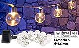 Lunartec Außenlichterkette Solar: Solar-LED-Lichterkette mit 10 LED Glühbirnen, 1,8 Meter, IP44 (Weihnachtsbaumketten)