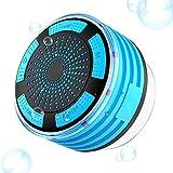 Goodsmiley Bluetooth-Lautsprecher, tragbar, IP7, wasserdicht, kabellos, mit Saugnapf und Licht (blau)