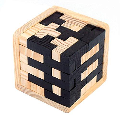 SODIAL Rompecabezas de madera 3D 54 Bloques en forma de T acertijo Rompecabezas intelectual geometrico Acertijo logico Juguete educativo para ninos pequenos y adultos